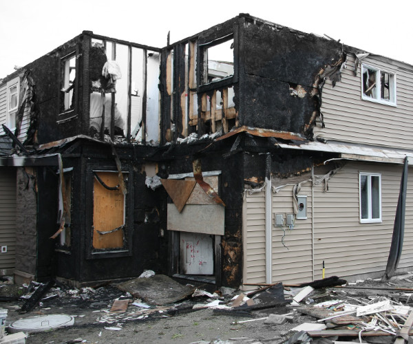 Charred Two Story Home Fire Damage