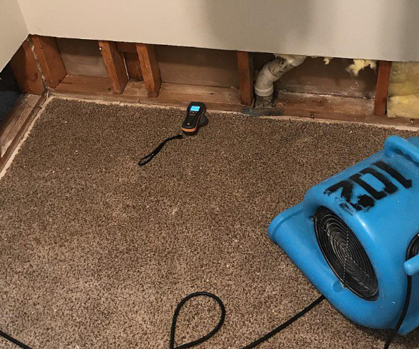 Fan Drying Wet Walls Water Damage Cleanup