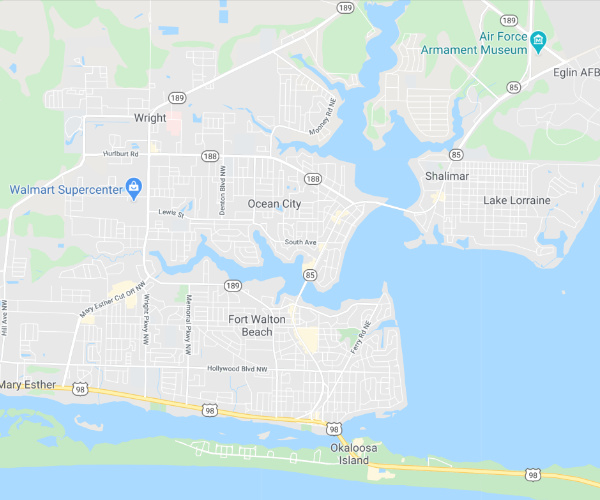 Fort Walton Beach Service Area Map