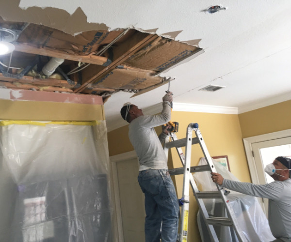 Water Damage In Attic Restoration Of Ceiling In Fort Walton Beach Florida